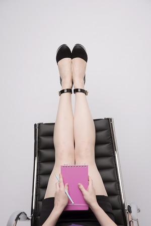 stretch out: SECRETARY AND AN AN OFFICE CHAIR