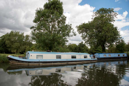 Canalboats on the Kennet and Avon canal Berkshire England UK Editorial