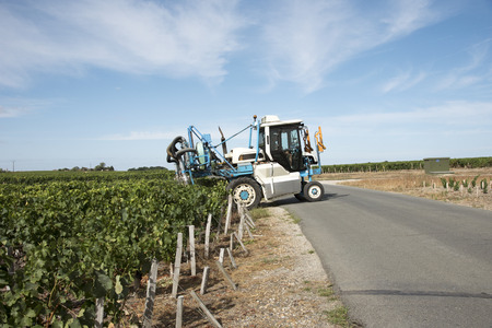 straddle: Saint Estephe Medoc France August 2016 - A straddle tractor used for spraying vines in the St Estephe region of the Haut-Medoc area of France Editorial