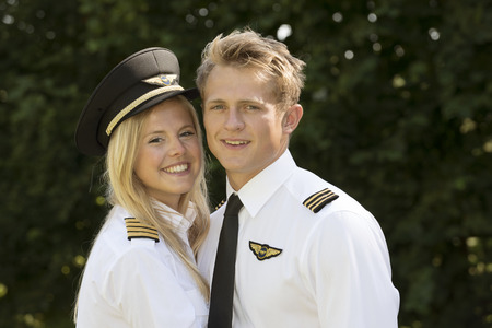 Portrait of two young airline officers Stock Photo
