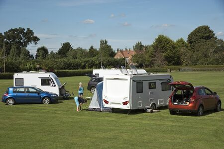 touring: Caravan campsite in the Wiltshire countryside England UK