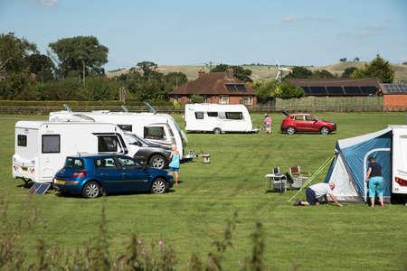 campsite: Caravan campsite in the Wiltshire countryside England UK