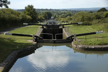 Kennet and Avon Canal at the Caen Hill flight of locks near Devizes Wiltshire UK