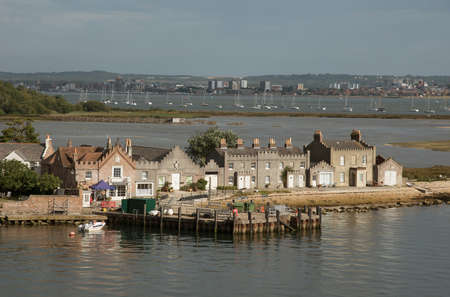 waterfront property: Housing on Brownsea Island in Poole Harbour Dorset England UK