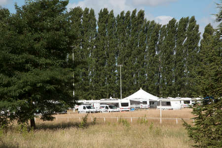 campsite: Noizay Loire Valley France- August 2016 - A campsite for caravans and motorhome in the Loire region of France Editorial