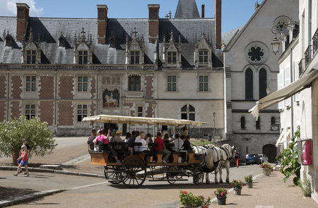 horse drawn: Blois France - August 2016 - The town center Chateau Royal at Blois and a horse drawn tourist carriage