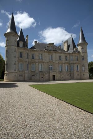 bordeaux region: Pauillac Bordeaux France - August 2016 - The historic Chateau Pichon Longueville Baron situated along the wine route of Pauillac in the Bordeaux region of France Editorial
