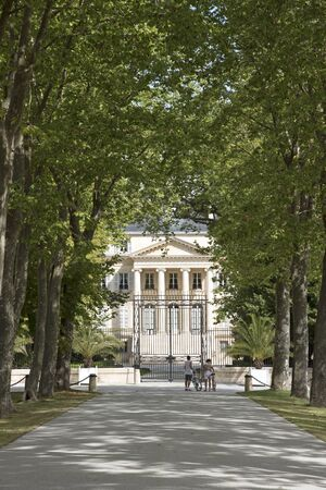 bordeaux region: Margaux Bordeaux France - August 2016 - The historic Chateau Margaux situated along the wine route of the Medoc in the Bordeaux region of France