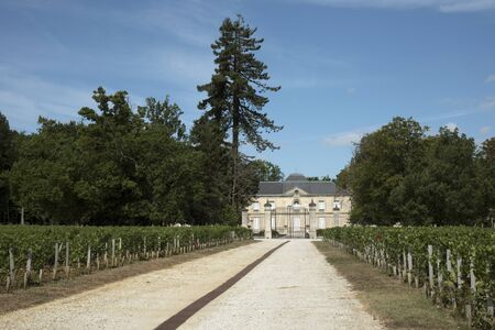 bordeaux region: Pauillac Bordeaux France - August 2016 - The historic Chateau Lynch Moussas situated along the wine route of Pauillac in the Bordeaux region of France