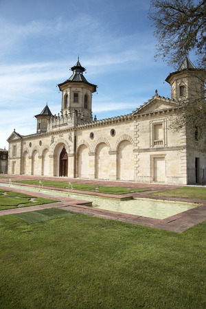 bordeaux region: Saint Estephe Bordeaux France - August 2016 - The historic Chateau Cos dEstournel situated along the wine route of Saint Estephe in the Bordeaux region of France