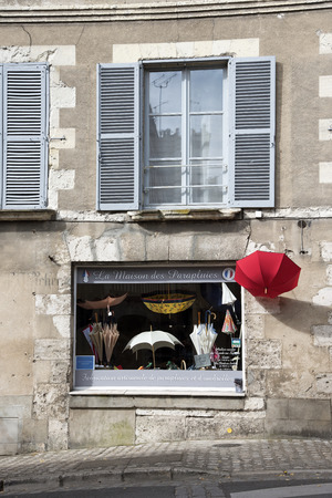 shopfront: An umbrella store in the old town of Blois inthe Loire region of France