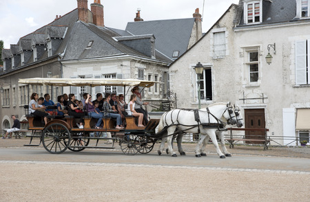 horse drawn: Blois France -August 2016- A horse drawn carriage giving the passengers a tour of this historic French city