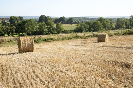 french countryside: Pace Alencon France - August 2016 - Bales of straw on a small farm in the French countryside