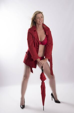 macintosh: Blond woman wearing a red bra and mac
