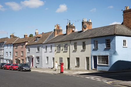 old english: Devizes Wiltshire England UK - August 2016 - Old terraced houses in this English historic market town