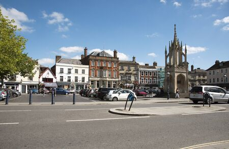 old english: Devizes Wiltshire England UK - August 2016 - The market square and cross in this old English market town of Devizes