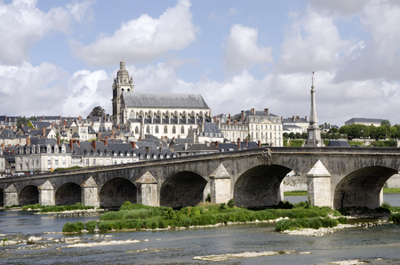 The Cathedral of Saint Louis at Blois overlooking the River Loire France
