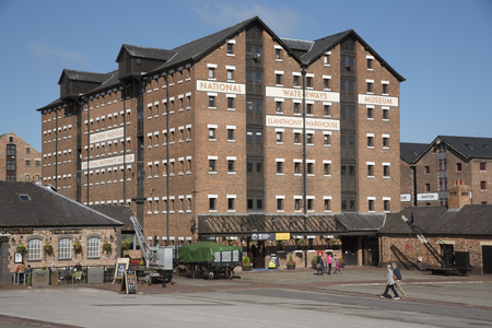 regenerated: Gloucester Docks Gloucestershire England UK - October 2016 - The National Waterways Museum in the old LLanthony Warehouse at the Gloucester Docks dating from 1827