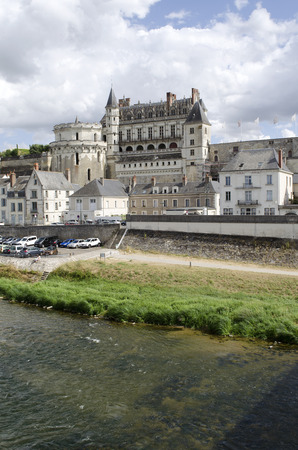 french renaissance: Amboise France - August 2016 - The Chateau Amboise overlook the River Loire in this old historic market town in the Loire region of France