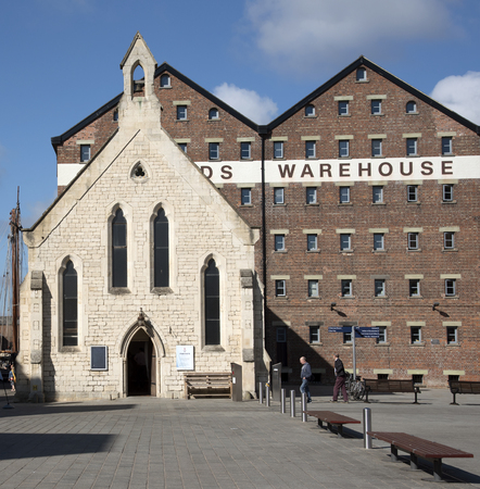 Gloucester Docks Gloucestershire England UK - October 2016 - The Mariners Chapel and old warehouse buildings in the heart of Gloucester Docks Editorial