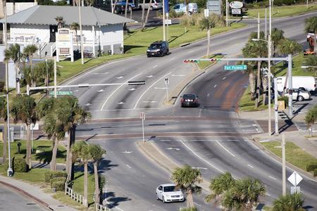 pensacola beach: Pensacola Beach Florida USA - October 2016 - Overview of a road junction contolled by traffic lights