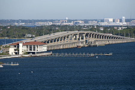 Pensacola Florida USA - October 2016 - Sikes Bridge which links Gulf Breeze to Pensacola Beach and Santa Rosa Island seen looking north Archivio Fotografico