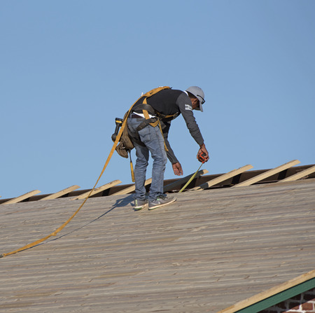 pitched roof: Florida USA - October 2016 - Roofer wearing a safety harness measuring wooden slats using a tape measure