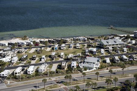 Pensacola Beach Florida USA - October 2016 - Overview of a RV seaside park Editorial