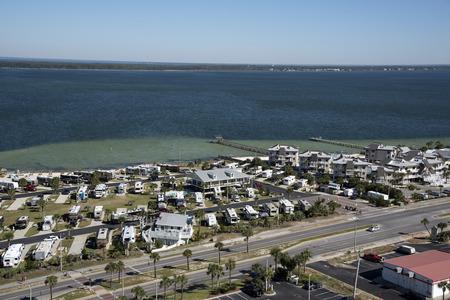 pensacola beach: Pensacola Beach Florida USA - October 2016 - Overview of a RV seaside park and holiday accommadation along the coastline Editorial