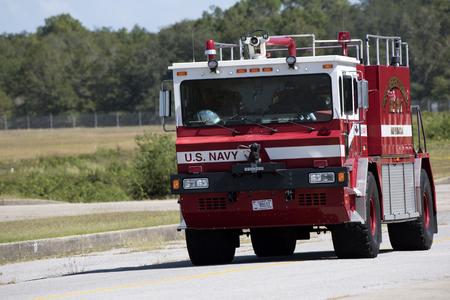 US Navy fire truck at Pensacola Naval Air Station Florida USA October 2016