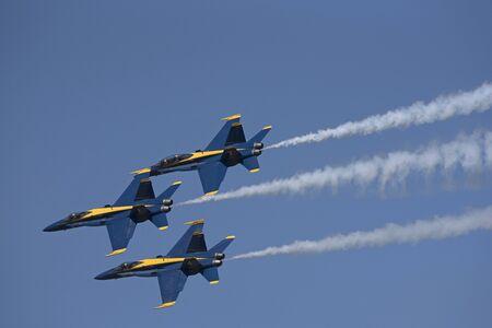NAS Pensacola Florida USA - October 2016 -  Blue Angels FA 18 Hornet jets in flight over their Pensacola base
