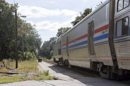 baggage train: DeLand Florida USA - October 2016 - An Amtrak passenger train baggage carriage