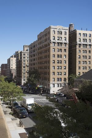 Amsterdam Avenue New York USA - October 2016 - Residential properties  on the Upper West Side NYC Editorial