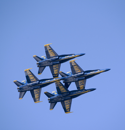 Pensacola Florida USA - October 2016 - Military jets practice flying in formation seen from Santa Rosa Island