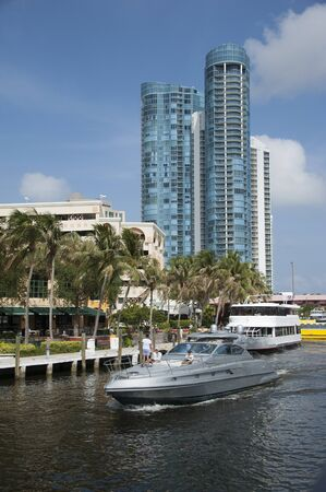 Fort Lauderdale Florida USA - 2011 - Luxury boats on the New River Editorial
