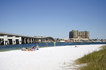 seafronts: Destin Florida USA - October 2016 - The military beach on Okaloosa Island overlooks Destin a holiday resort on the Panhandle regiion of Florida