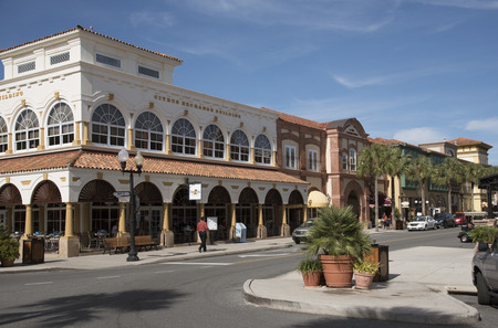 florida citrus: Spanish Springs town center Florida USA - October 2016 - The Citrus Exchange building in the town center Editorial