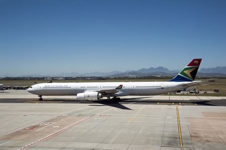 Cape Town International Airport South Africa,A South African Airways A340-600 passenger jet taxi-ing Editorial