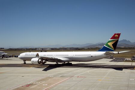 Cape Town International Airport South Africa,A South African Airways A340-600 passenger jet taxi-ing