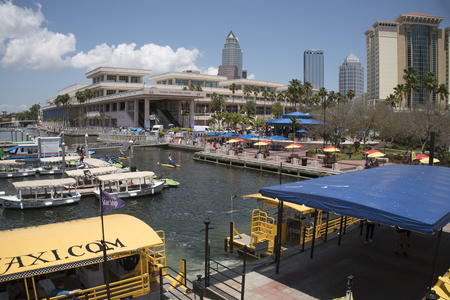 The boating facility on the waterside and convention center in Tampa Florida USA . May 2017