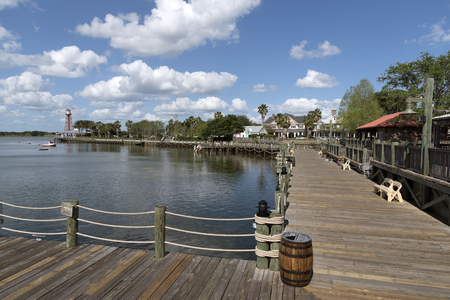 The waterfront in Sumpter Landing a residential location in The Villages Florida USA. April 2017 Editorial