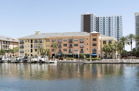 waterfront property: Channelside area housing on the Garrison Channel in Tampa Florida USA