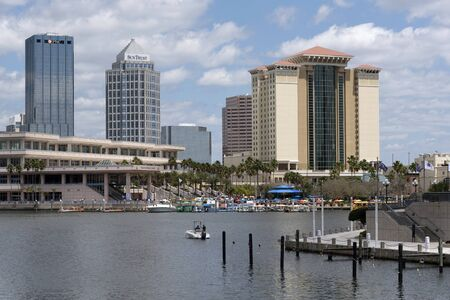 waterfront property: The Tampa Convention Center building and Embassy Suites building on the waterfront downtown Tampa Florida USA. April 2017