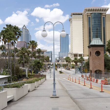 Downtown looking towards highrise office buildings in Tampa Florida USA. April 2017