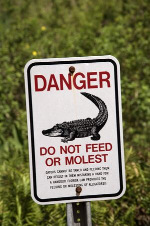 Aligator danger and warning sign Florida USA April 2017 Do not feed or molest gators.