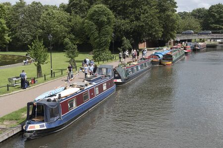 Newbury Berkshire UK 11th June 2017 Boaters Christan Fellowship Boats of Hope on a weekend misson along the Kennet and Avon Canal at Newbury in Berkshire England.