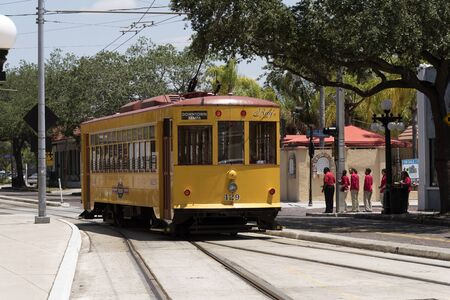 Teco Line streetcar in Ybor City the historic district of Tampa Florida USA. Circa 2017 Editorial