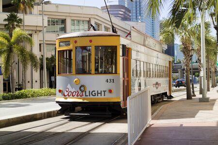 Streetcar in downtown Tampa Florida USA. Circa 2017