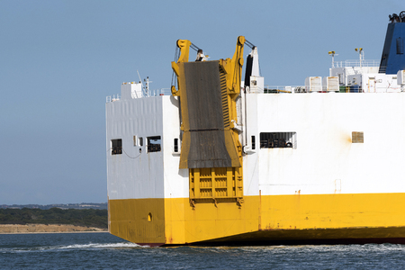 Loading and unloading ramp on the stern of a vehicle carrier ship.