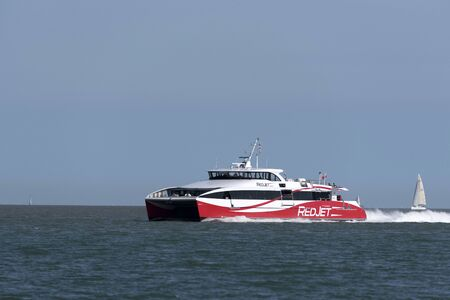 Southampton Water southern England UK. August 2017. Passenger ferry Red Jet 6 inbound to Southampton from Ryde Isle of Wight.